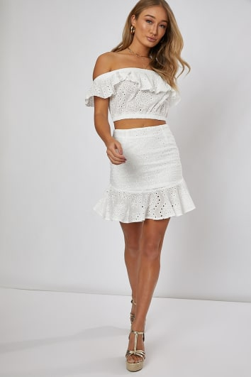 NILLY WHITE FRILL HEM DETAIL MINI SKIRT