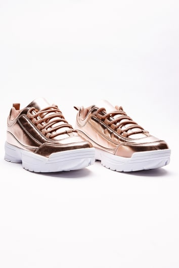 HARIETTA ROSE GOLD METALLIC CHUNKY TRAINERS