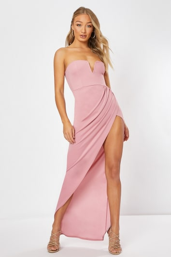 d6c2341e17a SHEILA PINK SPLIT FRONT MAXI DRESS