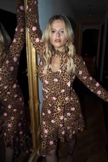 EMILY ATACK LEOPARD PRINT TIE NECK ASYMMETRIC MIDI DRESS