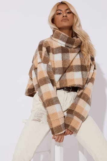 TILLY BROWN CHECK TEDDY FUR HIGH NECK CROPPED JUMPER