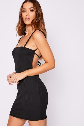 AVEH BLACK BANDAGE RIB BACKLESS BODYCON DRESS