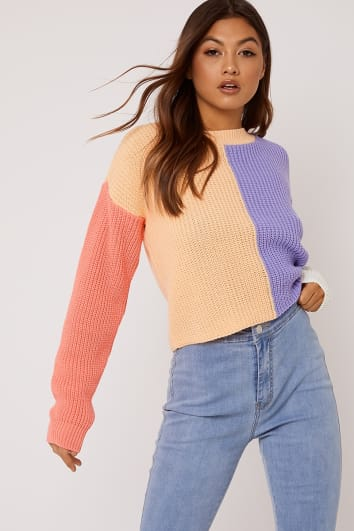BONNITA ORANGE COLOUR BLOCK CREW NECK JUMPER