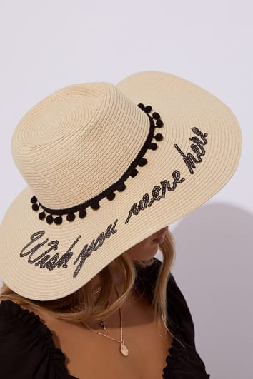 WISH YOU WERE HERE STONE STRAW HAT