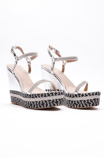 IDIA SILVER METALLIC AZTEC PATTERN WEDGES