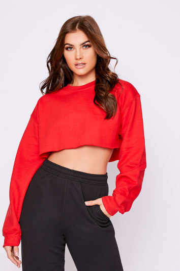 BASIC RED CROPPED SWEATER