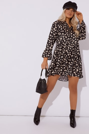 JULIETE BLACK LEOPARD PRINT SATIN SMOCK DRESS