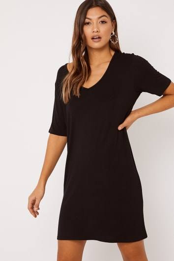 CYNTHIA BLACK V NECK T SHIRT DRESS