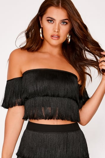 SARAH ASHCROFT BLACK TASSEL BARDOT CROP TOP