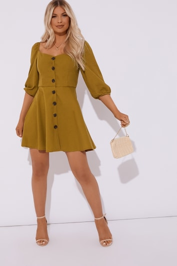 DARRAH KHAKI HORN BUTTON PUFF SLEEVE SKATER DRESS