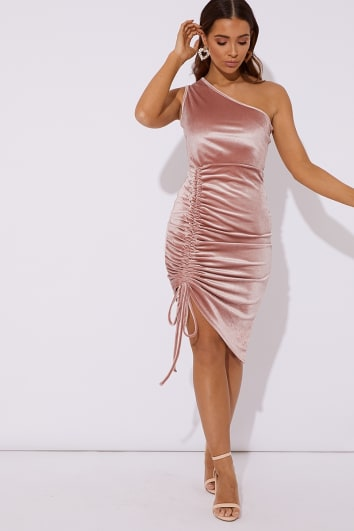 COREY BLUSH ONE SHOULDER VELVET MIDI DRESS