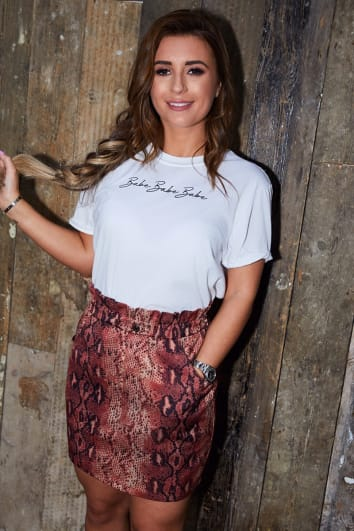 DANI DYER RUST SNAKE PRINT PAPERBAG DENIM MINI SKIRT