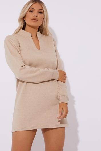 CALEH CAMEL FLEECE LINED V NECK MINI DRESS