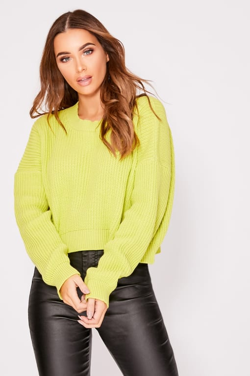 KIRRA LIME CREW NECK BASIC CROPPED JUMPER