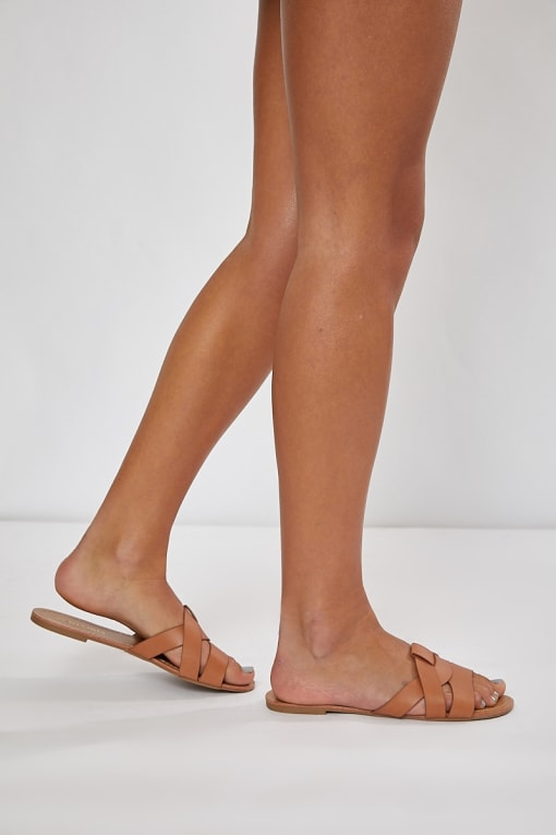 KERUCE TAN PLAITED DETAIL STRAP SLIDERS