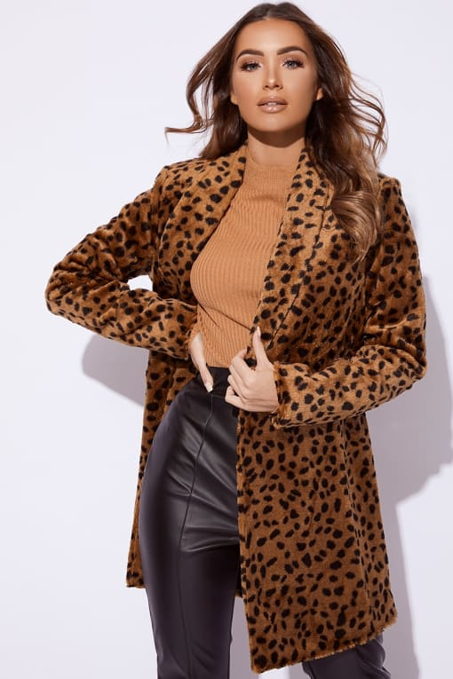 BILLIE FAIERS BROWN LEOPARD PRINT FAUX FUR COAT