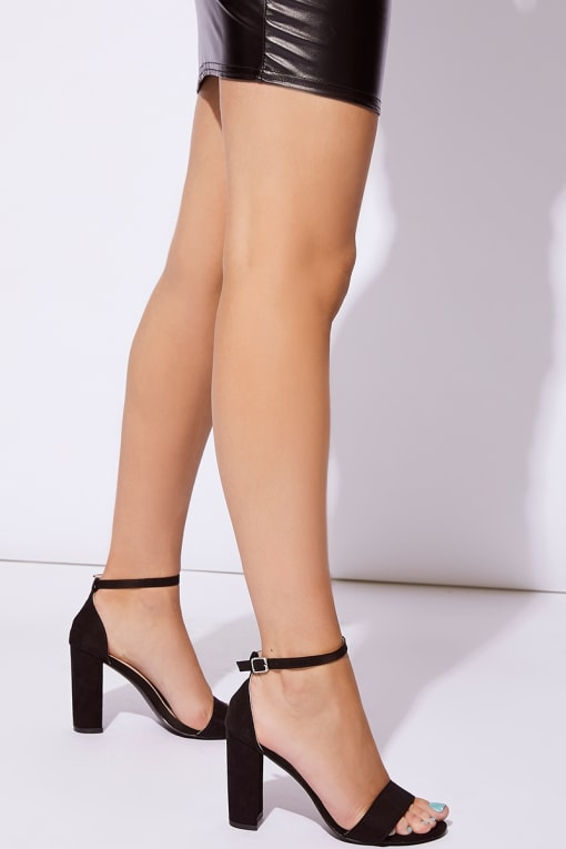MORGAN BLACK FAUX SUEDE ANKLE STRAP BARELY THERE HEELS