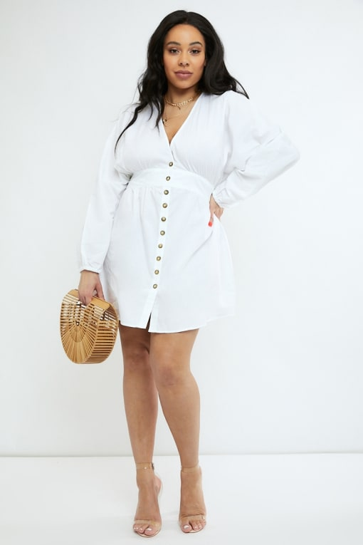 CURVE EMILY ATACK WHITE POPLIN BUTTON DOWN MINI DRESS