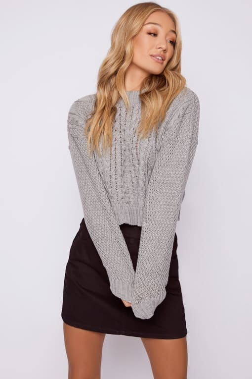 KAMARI GREY CABLE KNIT CROPPED JUMPER