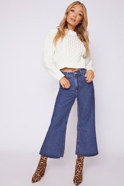 OULA BLUE DENIM RAW HEM CULOTTES