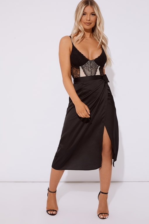 OZI BLACK SATIN WRAP FRONT MIDI SKIRT