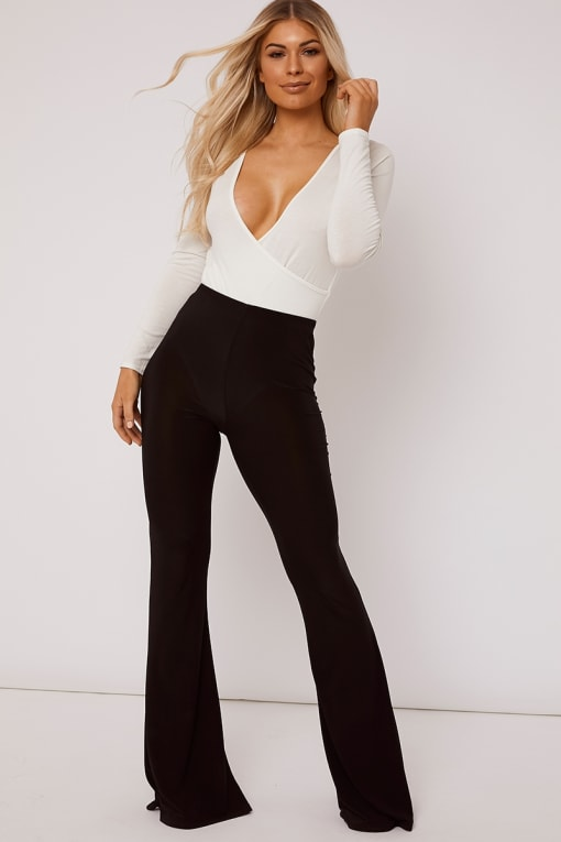 JAMIE LEE BLACK SLINKY FLARE LEG TROUSER