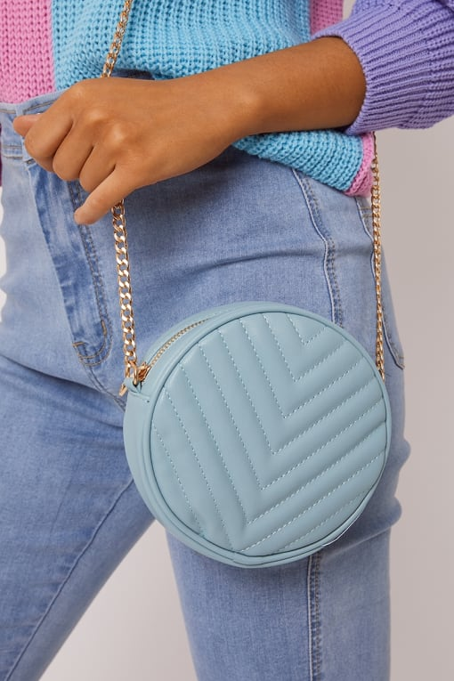 BLUE QUILTED ROUND BAG