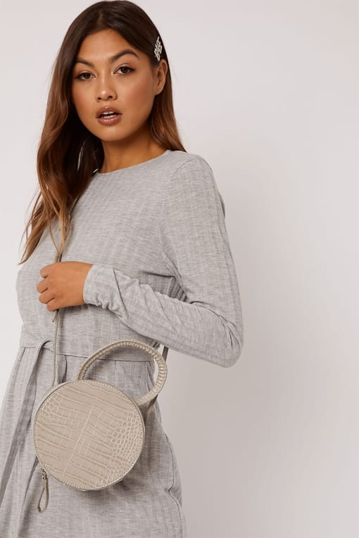 GREY CIRCLE FAUX CROC BAG