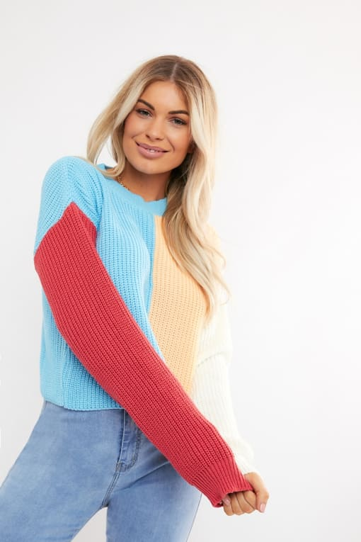 BONNITA BLUE COLOUR BLOCK CREW NECK JUMPER