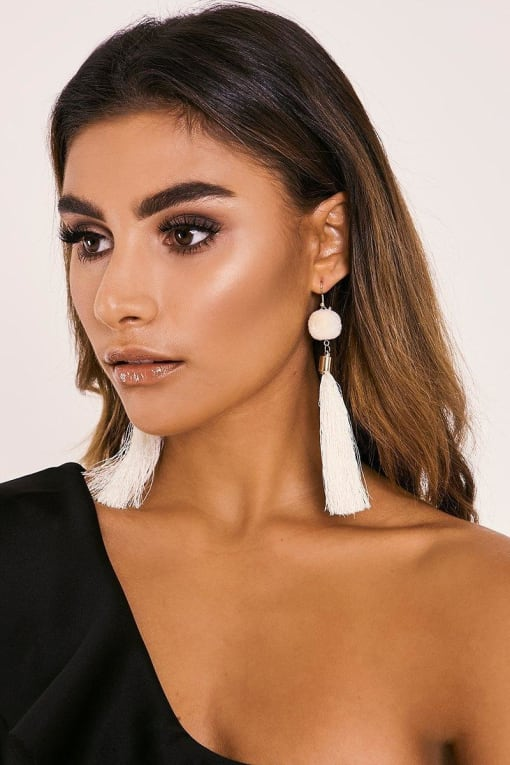 CREAM POM POM TASSEL EARRINGS