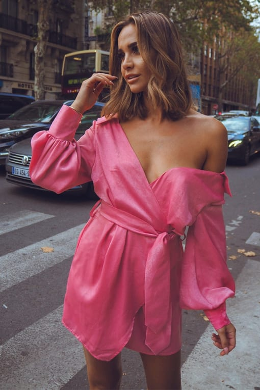 EMILY SHAK PINK SATIN OFF SHOULDER WRAP DRESS
