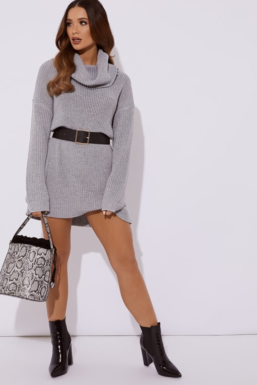 TINA GREY ROLL NECK KNITTED JUMPER DRESS