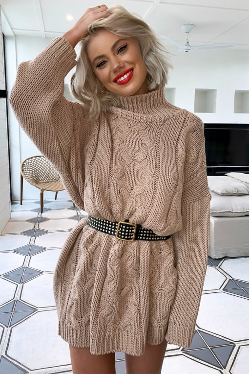 LAURA JADE NUDE OVERSIZED CABLE KNIT HIGH NECK JUMPER DRESS
