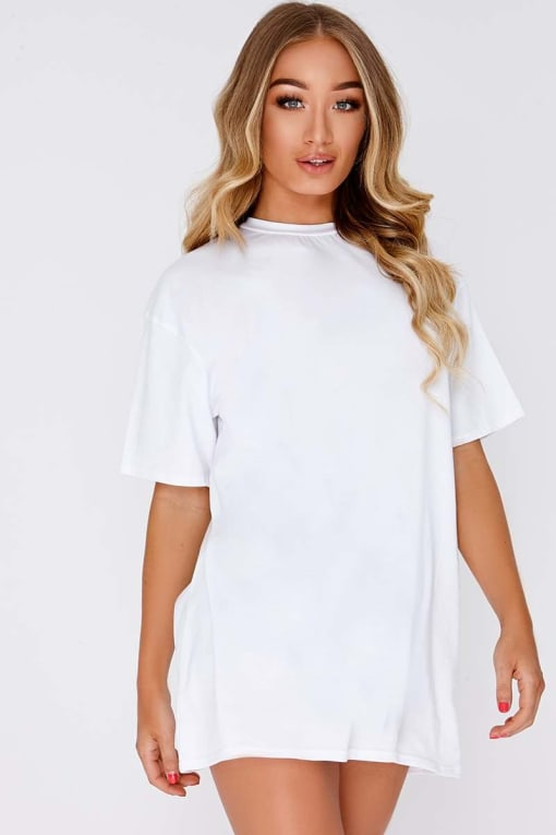 CYNDI WHITE BASIC T SHIRT DRESS