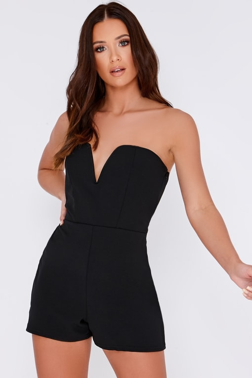 RISE BLACK SWEETHEART NECK BANDEAU PLAYSUIT