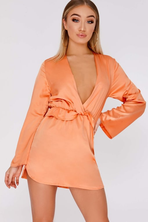 CAZZY ORANGE SATIN PLUNGE FRILL DRESS