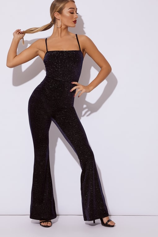BRINIE NAVY GLITTER VELVET SQUARE NECK FLARED LEG JUMPSUIT