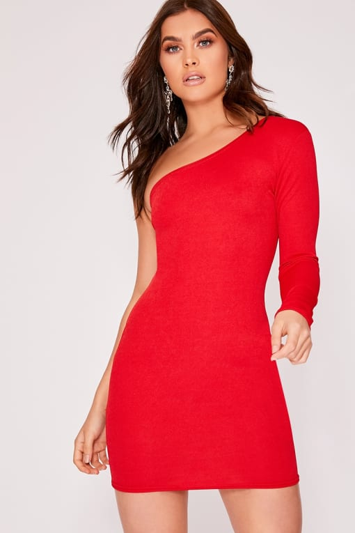 KRISTEL BASIC RED ONE SHOULDER BODYCON DRESS