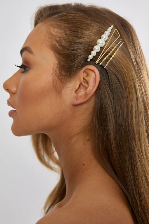 MULTI PACK LARGE PEARL HAIR SLIDES