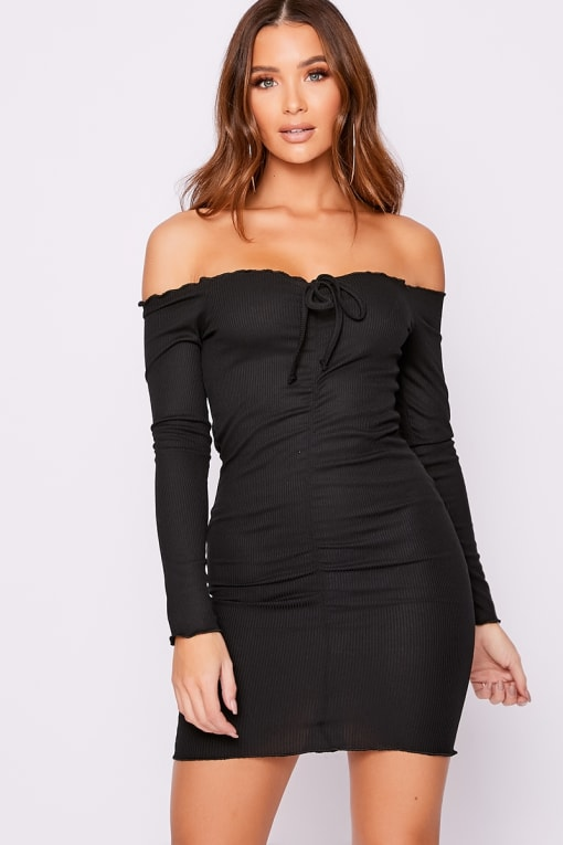 ELISSAH BLACK RIBBED BARDOT RUCHED MINI DRESS