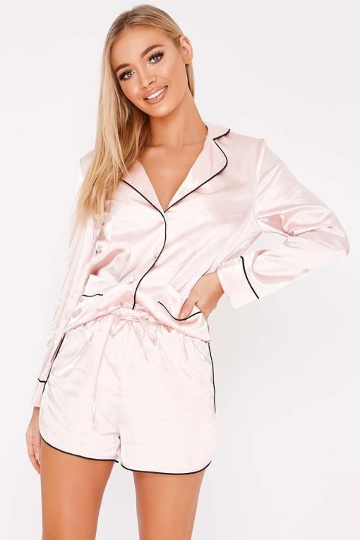 ALESTI NUDE SATIN PIPING DETAIL SHORTS PYJAMA SET