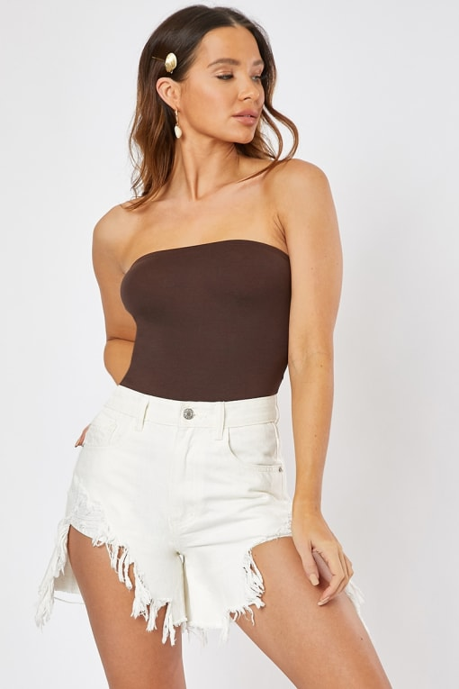 BASIC BROWN BANDEAU BODYSUIT