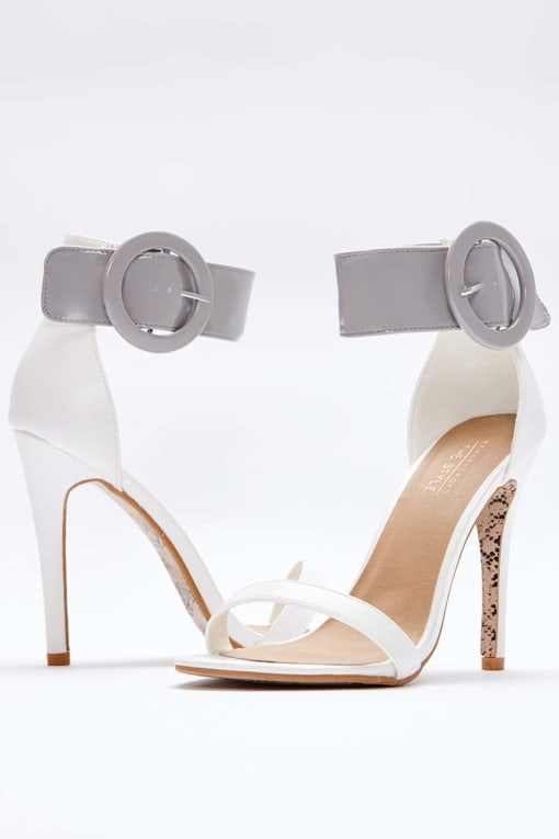 SARAH ASHCROFT WHITE PATENT BARELY THERE HEELS