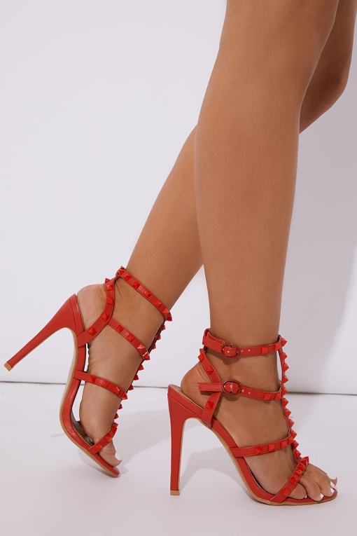 KASANDRAH RED PU STUDDED HEELS