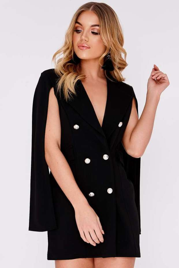 CAILLA BLACK SPLIT SLEEVE BLAZER DRESS