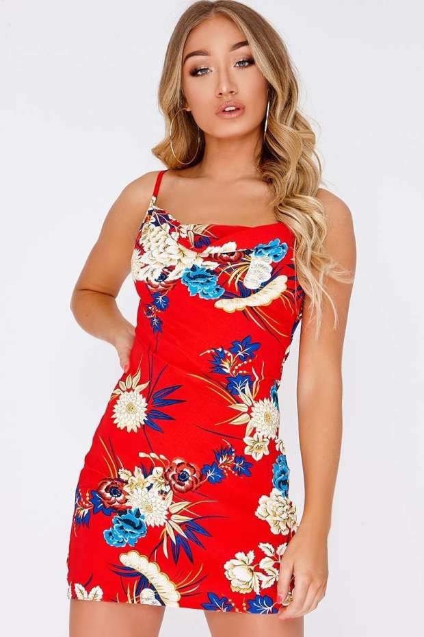 AIRLEA RED FLORAL COWL NECK SLIP DRESS