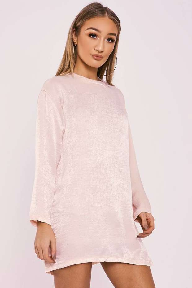 BETHEN NUDE SILKY SHEER OVERSIZED T SHIRT DRESS