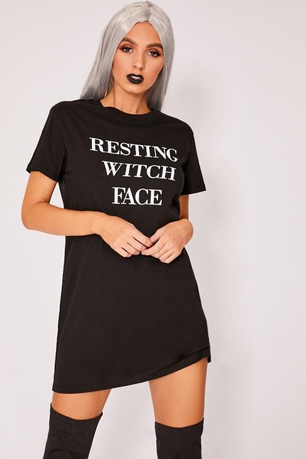 e5c70b26a8e Previous. RESTING WITCH FACE BLACK T SHIRT DRESS. RESTING WITCH FACE BLACK T  SHIRT DRESS