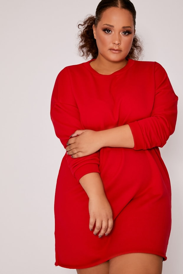 CURVE LOUNA RED OVERSIZED SWEATER DRESS