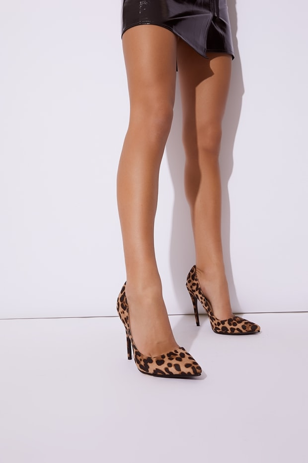 756b9695a53 Lysabeth Brown Leopard Faux Suede Print Court Shoes